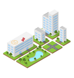 isometric city building block flat 3d design vector image