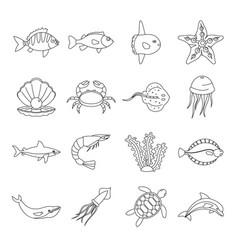 sea animals icons set otline style vector image