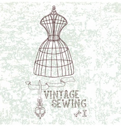 vintage sewing vector image vector image
