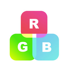 color system of the rgb as toy cubes vector image