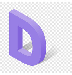 d letter in isometric 3d style with shadow vector image