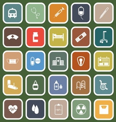 Hospital flat icons on green background vector image