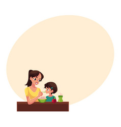 mother spoon feeding her little daughter sitting vector image vector image
