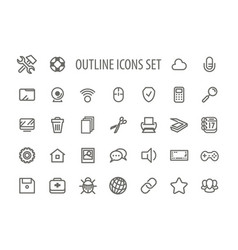 outline icons set vector image vector image