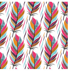 seamless pattern with large colored feathers and vector image vector image
