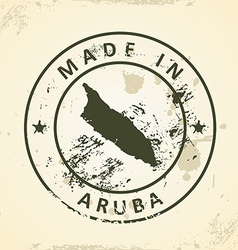 Stamp with map of Aruba vector image