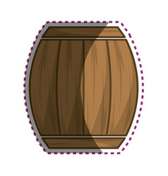 Sticker wood barrel of wine beverage tasty vector