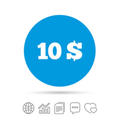 10 dollars sign icon usd currency symbol vector