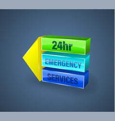 24hr emergency services banner vector image