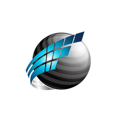 Abstract 3d sphere logo with blue and black color vector