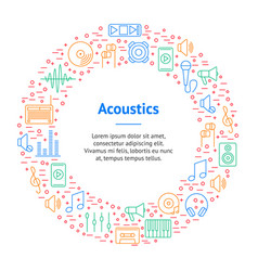 acoustics and sound thin line banner card circle vector image