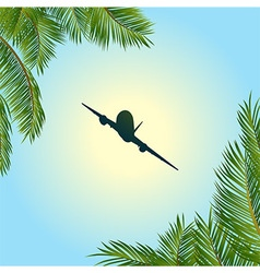 Airplane silhouette over sunny sky and palm trees vector image