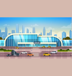 Airport building modern terminal exterior with vector