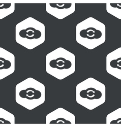 Black hexagon cloud exchange pattern vector
