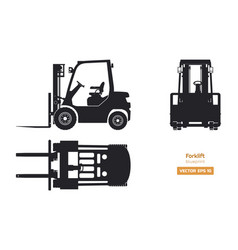 Black silhouette of forklift top side front vector