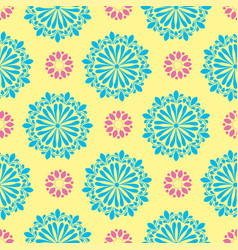 bright mandala pattern in yellow with green vector image