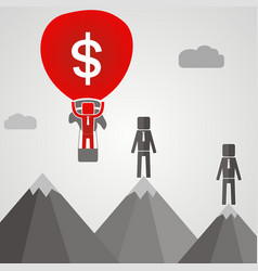 businessman flies on a ballon with money vector image
