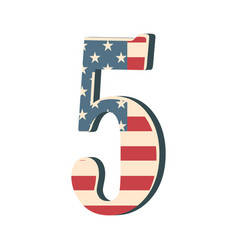 capital 3d number five with american flag texture vector image