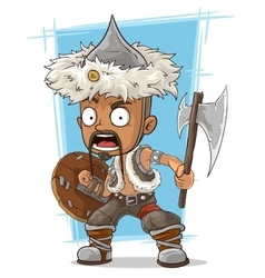 Cartoon barbarian mongol with axe vector image
