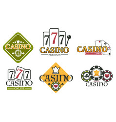 casino logos with lucky seven on slot machine and vector image