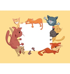 Cats around the frame vector image vector image
