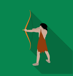 Caveman with bow and arrow icon in flate style vector