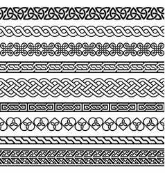 celtic seamless border pattern collection vector image