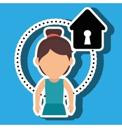 Character house secure protection vector
