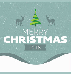 Christmas Card With Snow Background And Reindeer Vector Image