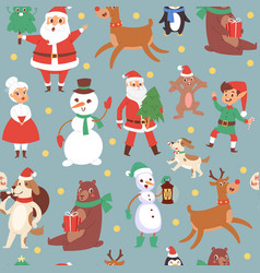 christmas characters seamless pattern vector image