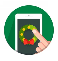 Circle Christmas icon flat wreath vector
