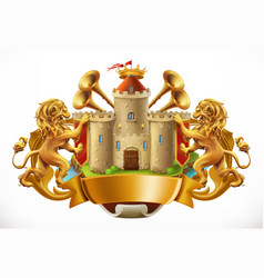 Coat of arms castle and lions 3d icon vector