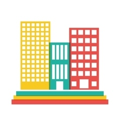 color buildings and city scene line sticker vector image