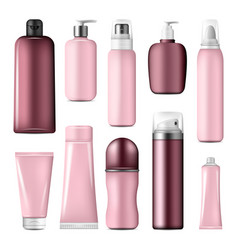 Cosmetic bottles and cream conteiners mock up vector