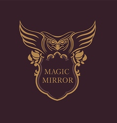 Creative emblem of the magic mirror with an owl vector image