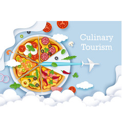 Culinary tourism poster banner template vector