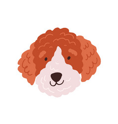 cute dog s face funny head of puppy with curly vector image