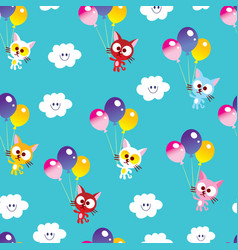 cute kittens seamless pattern vector image