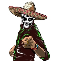 Day of the dead sugar skull man Mexican vector image