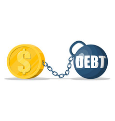 Debt ball chained to dollar gold coin vector