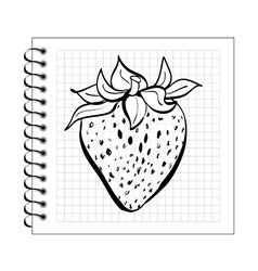 doodle strawberry on spiral notepad paper vector image