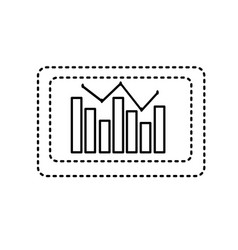 Dotted shape computer with statistics diagram bar vector