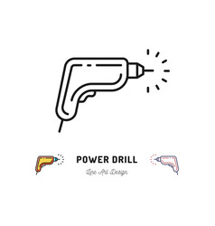 drill icon power tool outline sign repair home vector image