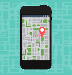 Electronic offline map on smartphone in hand vector