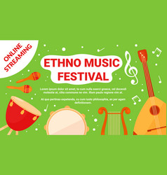 Ethno music art festival event flyer traditional vector