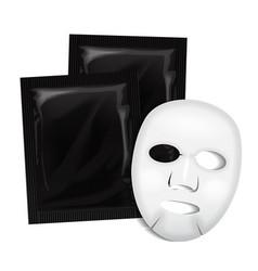 Facial mask black cosmetics package vector