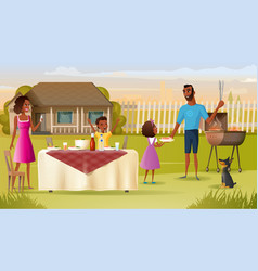 family barbeque party on house yard cartoon vector image