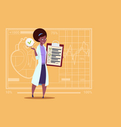 Female african american doctor holding clipboard vector