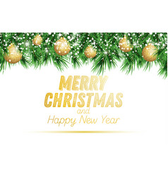 fir branch with golden christmas balls and snow vector image