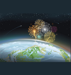 firework at night sky above planet earth vector image